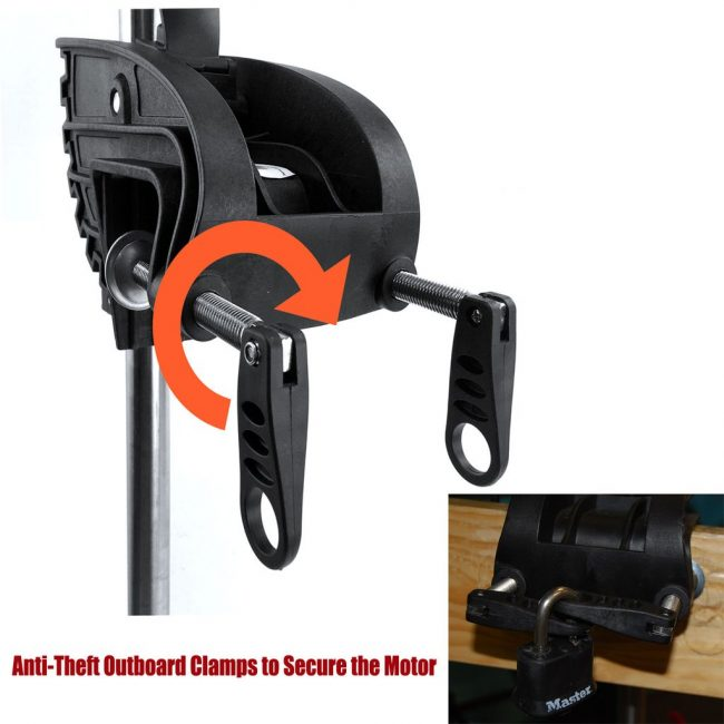 Outboard Clamp 650x650 - Seamax 12V SpeedMax Electric Trolling Motor with 40 Inches Shaft 55 to 65 Lbs Thrust (2018 Edition)