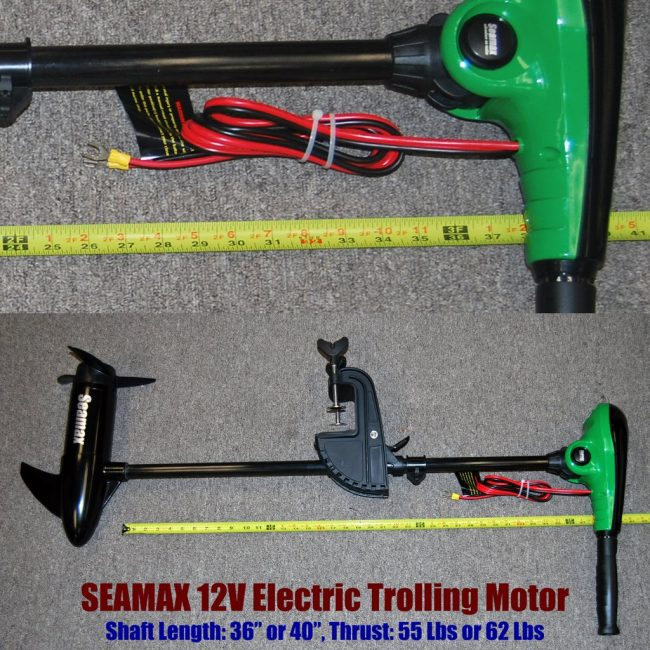 electric Motor X Series 36in 650x650 - Seamax 12V Electric Trolling Motor, 62 Pound Thrust, 40 Inch Shaft, 8 Speeds