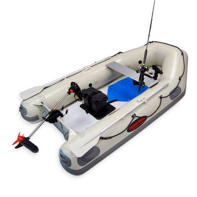 trolling motor 2018 with boat 650x650 - Seamax 12V SpeedMax Electric Trolling Motor with 32 Inches Shaft 55 to 65 Lbs Thrust (2018 Edition)